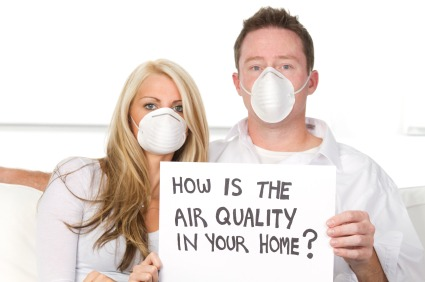 Couple with MouthMask due to bad air quality