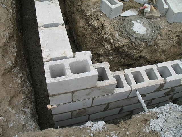 Waterproofing a concrete block foundation for Cinder block house construction